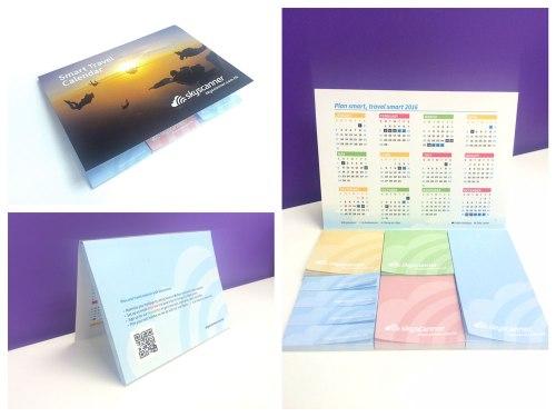 Skyscanner 年曆+便笺,既有 2016 年的請假攻略,附有彩色記事貼,可以記下旅遊備忘